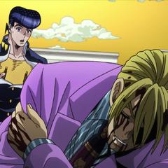 Josuke stumbles upon an injured Yoshikage Kira.
