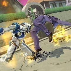 Okuyasu attacking in <i>Eyes of Heaven</i>