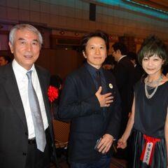 Araki with Takayuki Matsutani and Rumiko Tezuka at the 2013 Tezuka Award Reception party