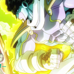 Star Platinum: The World throwing a punch in the third opening, <i><a href=