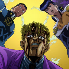 Okuyasu and Josuke confront an injured Kira about his suspicious condition.