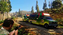 Jurassic Park Tour Buses on the road