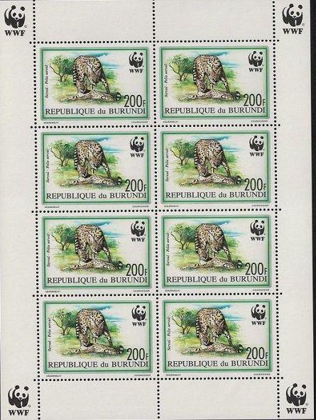 Burundi 1992 WWF Leptailurus serval Sc