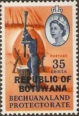Botswana 1966 Overprint REPUBLIC OF BOTSWANA on Bechuanaland 1961 k