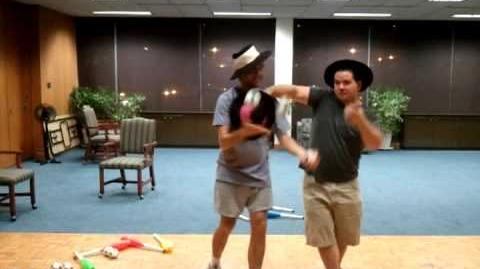David and Rory Juggling - Three Hat Steals on a Three Ball Run Around
