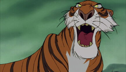 Shere Khan the Tiger is roaring at Baloo the Bear
