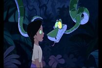 Shanti is looking at Kaa the Pyhton's eyes