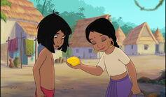 Mowgli saw Shanti catch a mango