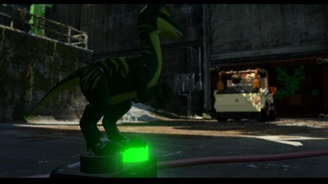 File:LEGO Jurassic World Parking Garage Level Compy presses the garage door switch saving the Mitchell Bros MlWA77ypw2Y4KyUJEW.jpg