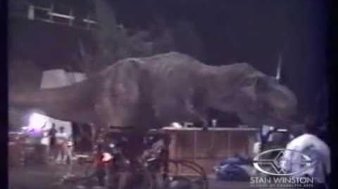 A never before seen clip of the T-Rex on the set of Jurassic Park