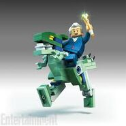 Lego Dimensions Doctor Who riding Blue the Velociraptor from Jurassic World