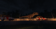 Tyrannosaurus with jeeps