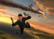 JC1 promotional art - Rico jumping from plane