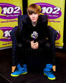 Justin Bieber promotes his new CD 'My World 2.0' at the Q102 radio station