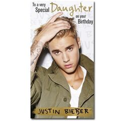 Justin Bieber Daughter Fold Out Birthday Card<br /><br />This cards folds out to reveal 4 fantastic photo images of Justin and the message reads