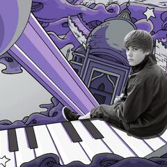 Page 3 of the booklet, with Bieber atop an animated piano, along with a microphone.