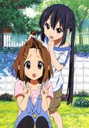 Azusa playing with Yui's hair