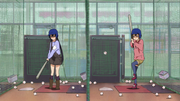 Azusa and Jun at the batting cage