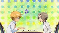 Takumi and Koganei playing chess