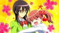 Sakura hugs Misaki