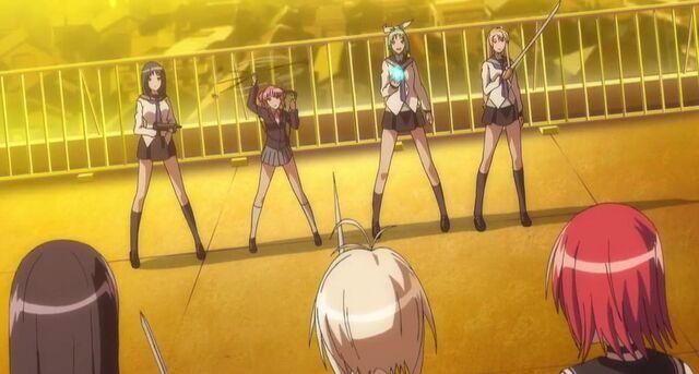 File:Shizuku, Mikoto, and Akane facing the four White Kampfers.jpg