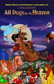 Simba Timon and Pumbaa's adventures of All Dogs go to Heaven Poster
