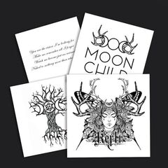 <b>Feral Hearts Sticker Pack</b><br />$5.00<br />4 magical stickers. Black print on clear and white background. 3