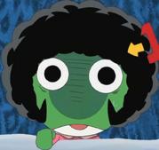 Keroro wearing his afro wig
