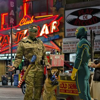 Official image released for <i>Kick-Ass 2</i> featuring Colonel Stars and Stripes and Kick-Ass.