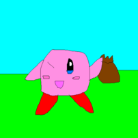 Kirby, holding the candy bag in triumph