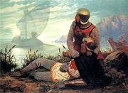 The Death of King Arthur by John Garrick (1862)