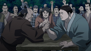Ryuu Sen Versus Den Yuu In An Arm Wrestling anime S2