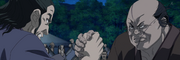 Den Yuu Versus Chu Tetsu In An Arm Wrestling anime S2