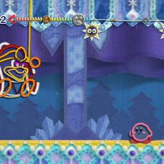 Kirby y Príncipe Hilván luchando contra el Rey Dedede.