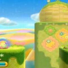 Kirby hípernova luchando con un topo naranja