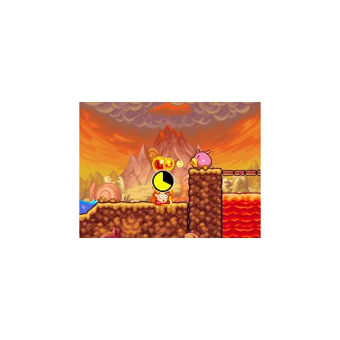 Un Noserunt Fuego quemando a un Kirby.