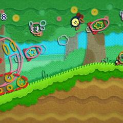 Kirby convertido en robo-tanque arrasando con los enemigos.