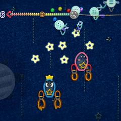 Kirby y Príncipe Hilván transformados en cohetes atacando a varios Moscotón.