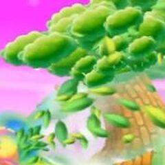 Kirby hípernova inhalando un árbol