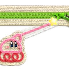 Kirby rodando en reversa mientras jala un zipper.