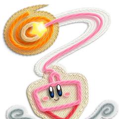 Kirby con forma de trompo aferrandose a un botón.