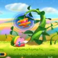 Kirby junto a un tallo de frijol, si te tragas la semilla te convertirás en <a href=