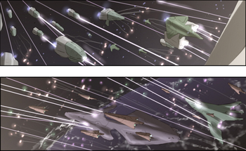 Spaceships battle beasts