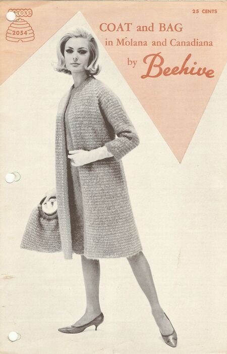 Patons Knitting Pattern Archive : Patons 2054 Coat and Bag in Molana and Canadiana by Beehive Knitting and Cr...