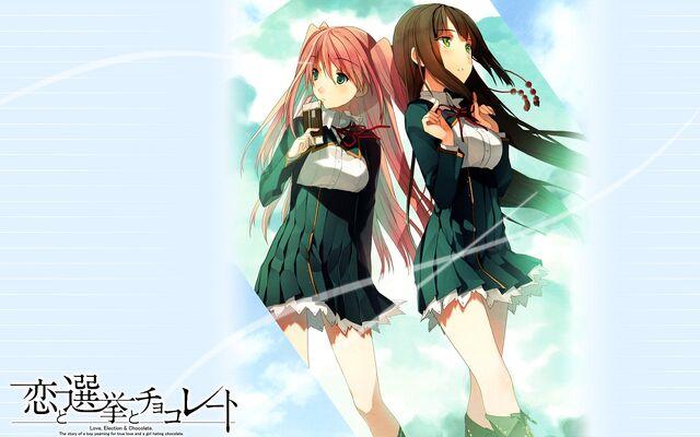File:Konachan-com-92277-akinashi yuu-brown hair-green eyes-koi to senkyo to chocolate-pink hair-seifuku-shinonome satsuki-sumiyoshi chisato-1-.jpg