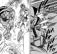Shiori attacking Hakai with End Mark