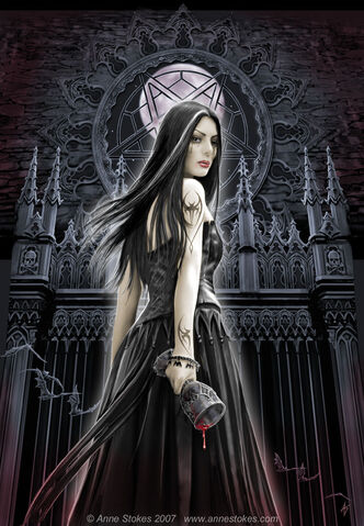File:VAMPIRE GIRL IN FRONT OF CASTLE GATE WITH BLOOD DRIPPING OUT OF A CUP.jpg