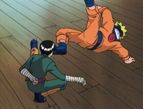 Lee engages in a duel with Naruto
