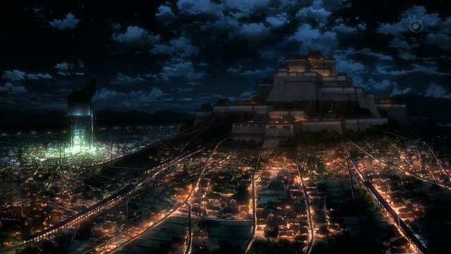 File:Aragane Station castle during the night.png
