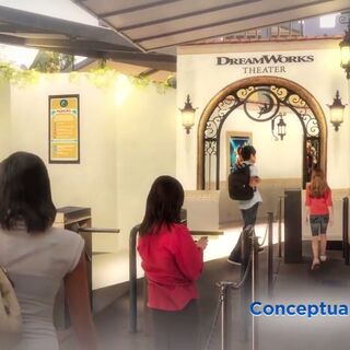 Concept art of the attraction queue